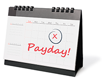 Image of calendar with payday marked off