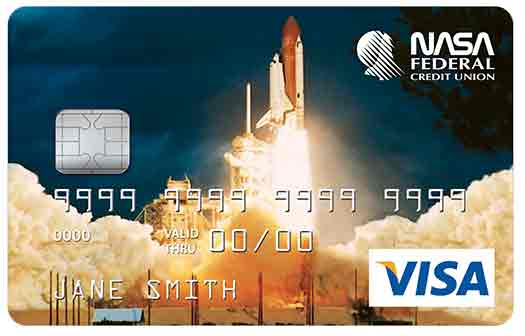 Classic Credit Card with shuttle launch graphic